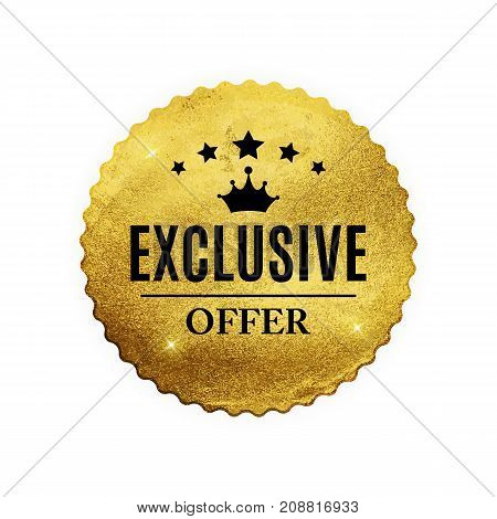 Exclusive Quality Shiny Golden Label  Luxury Badge Sign on White Background.Can be Used as  Best Choice, Price, Limited Edition, For Sale and other Business Sticker Logo. Vector Illustration EPS10