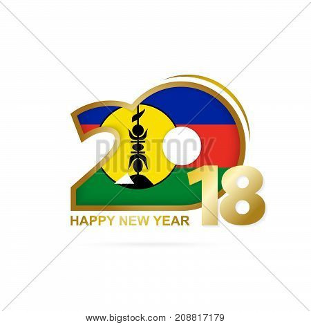 Year 2018 With New Caledonia Flag Pattern. Happy New Year Design.