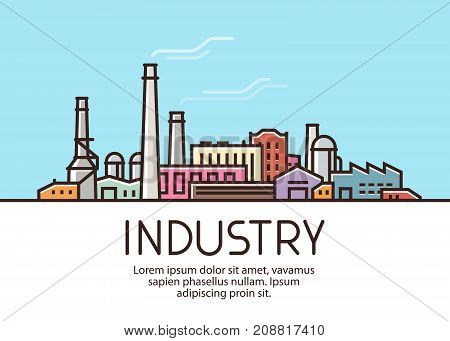 Industry banner. Industrial production, factory building concept Vector