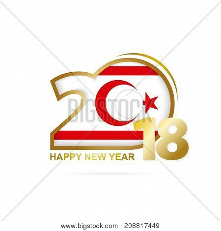 Year 2018 With Northern Cyprus Flag Pattern. Happy New Year Design.
