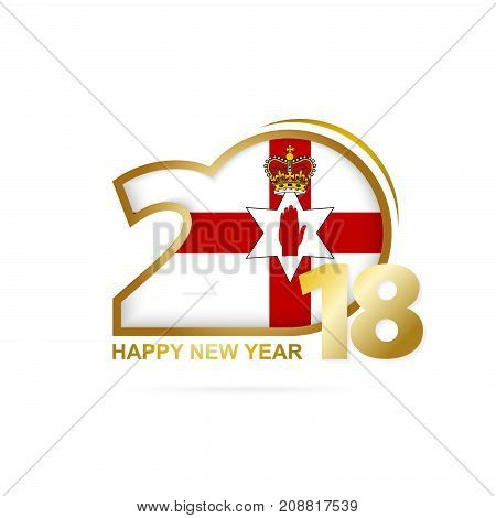 Year 2018 With Northern Ireland Flag Pattern. Happy New Year Design.