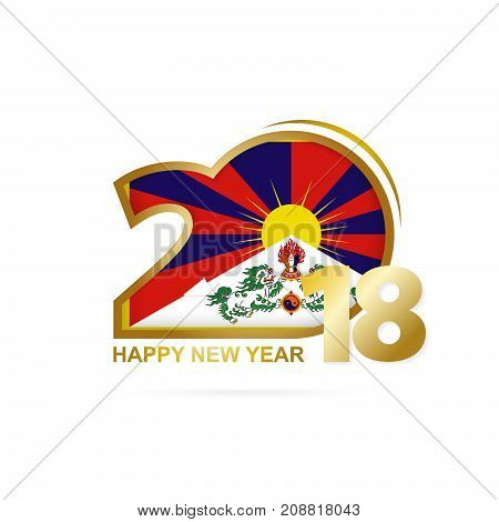 Year 2018 With Tibet Flag Pattern. Happy New Year Design.