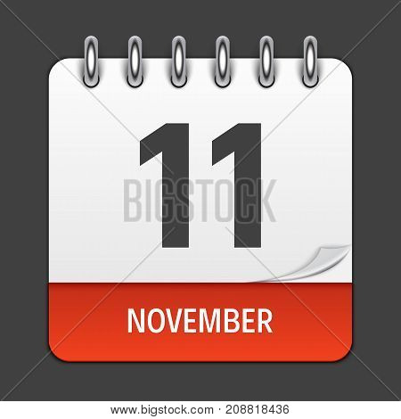 November 11  Calendar Daily Icon. Vector Illustration Emblem. Element of Design for Decoration Office Documents and Applications. Logo of Day, Date, Month and Holiday. EPS10