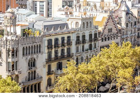 View on the luxurious residential old buildings on Gracia avenue in Barcelona city