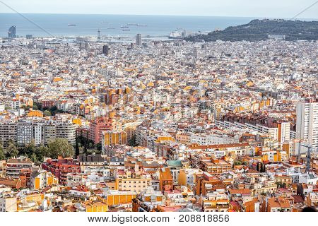 Aerial wide angle cityscape view on Barcelona city