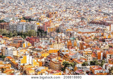 Aerial cityscape view on residential district in Barcelona city