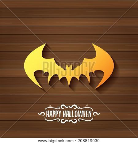 vector halloween golden bat animal silhouette label on dark old vintage wooden plate background with calligraphic text. vector happy halloween greeting card, party poster, invitation design template