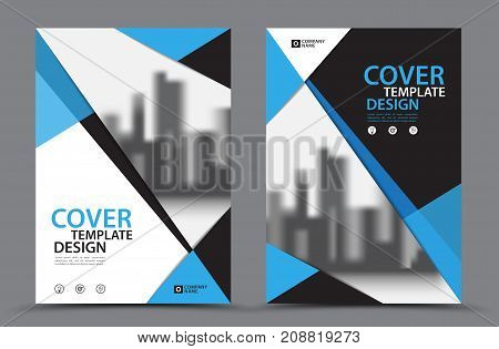 Blue Color Scheme with City Background Business Book Cover Design Template in A4. Brochure layout Annual Report Magazine Poster Presentation Portfolio Flyer Banner Website leaflet other.