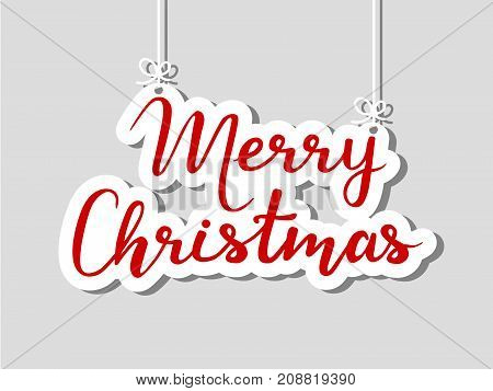 Merry Christmas on grey background. Vector illustration.