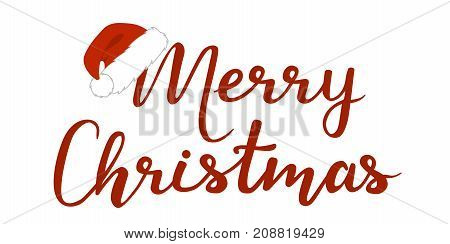 Merry Christmas on white background. Vector illustration.