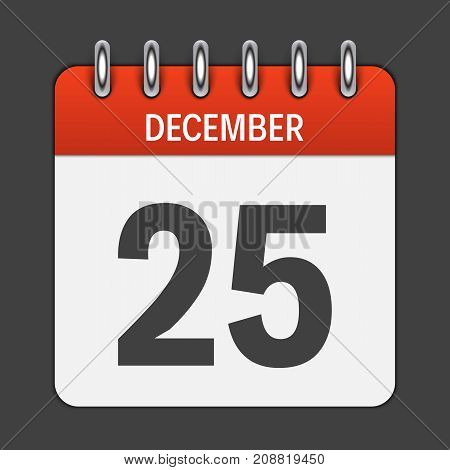 December 25 Calendar Daily Icon. Vector Illustration Emblem. Element of Design for Decoration Office Documents and Applications. Logo of Day, Date, Month and Holiday. Christmas Time. EPS10