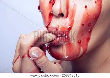 Sexual Model Suck Her Finger And Eat Jam On Her Face.