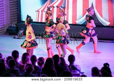 Yalta, Crimea - 11 July, Group of girls in dance costumes, 11 July, 2017. Performance of young artists on the stage of the hotel Yalta Intourist.