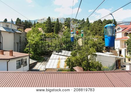 Yalta, Crimea - 11 July, City cable car, 11 July, 2017. City views of Yalta from the height of the cable car.