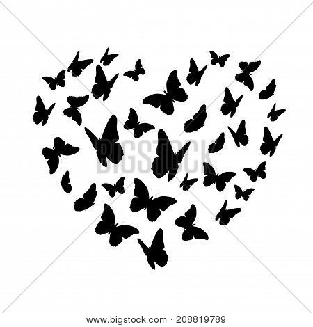 Beautifil Butterfly Heart Silhouette Isolated on White Background. Valentine s Day. Vector Illustration EPS10