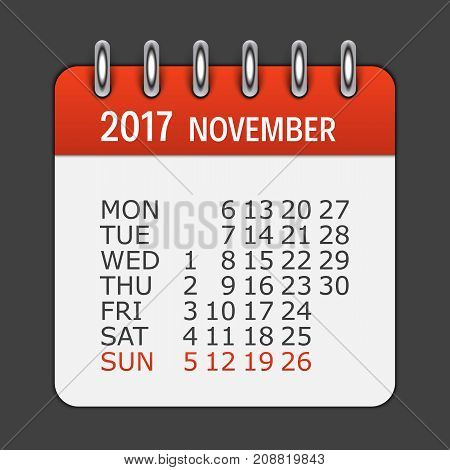 November 2017 Calendar Daily Icon. Vector Illustration Emblem. Element of Design for Decoration Office Documents and Applications. Logo of Day, Date, Month and Holiday. EPS10