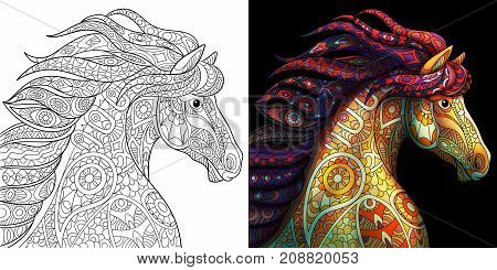 Collection of two mustang horses - monochrome and colored versions. Freehand sketch drawing for adult antistress coloring book with doodle and zentangle elements.