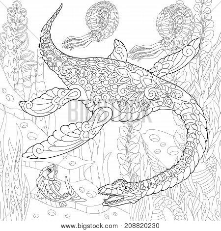 Coloring page of plesiosaurus dinosaur of the Mesozoic era. Freehand sketch drawing for adult antistress coloring book in zentangle style. poster