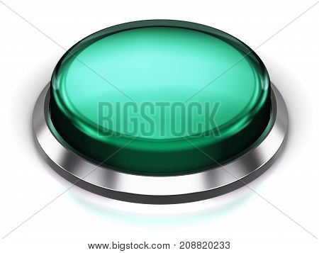3D render illustration of the turquoise glossy push press button or icon with shiny metal bezel isolated on white background with reflection effect