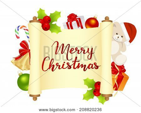 Merry Christmas card with manuscript and christmas decorations. Vector illustration