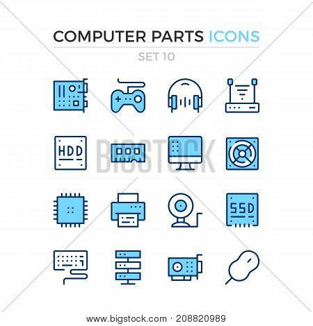 Computer parts icons. Vector line icons set. Premium quality. Simple thin line design. Modern outline symbols, pictograms