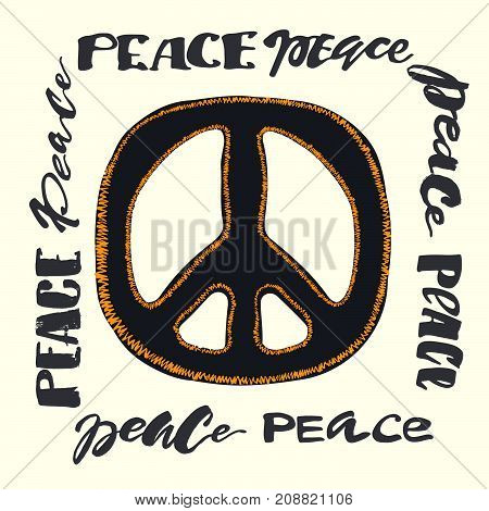 Peace Sign. Bright Embroidery And Letteringing