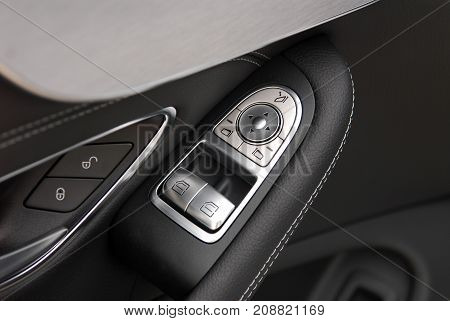 side mirror switch control, electric detail in car
