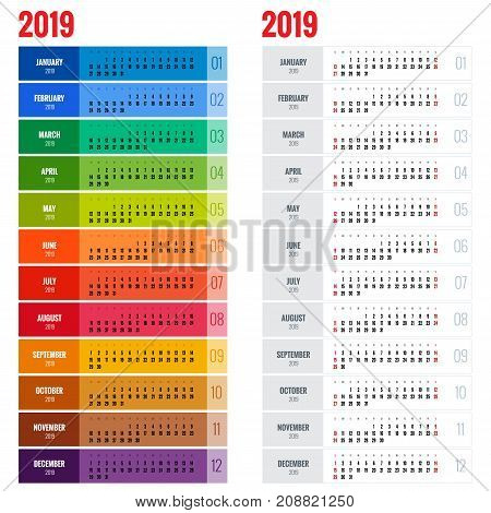 Yearly Wall Calendar Planner Template for 2019 Year. Vector Design Print Template. Week Starts Sunday