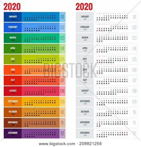 Yearly Wall Calendar Planner Template for 2020 Year. Vector Design Print Template. Week Starts Sunday
