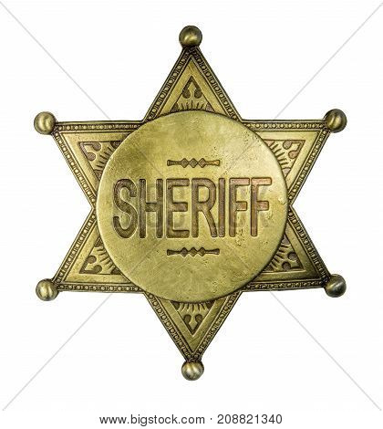 Isolated Retro Vintage Brass Sheriff Star Badge On A White Background