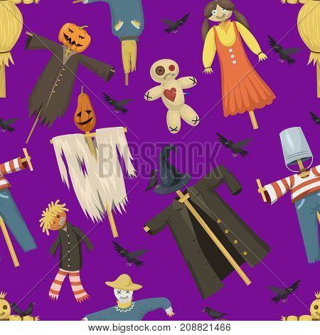 Garden ugly terrible fabric scarecrow vector fright bugaboo dolls on stiick and toy character dress from farm rag-dollseamless pattern background.