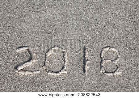 New Year 2018 Is Coming Concept. Wave Coming To 2018 Concept On The Sand Beach