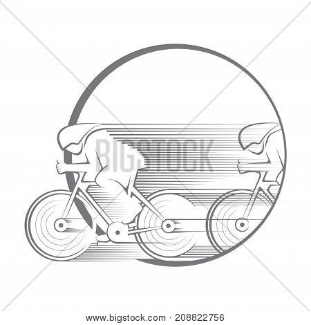 an illustration consisting of an image of cyclists in the form of a symbol or logo
