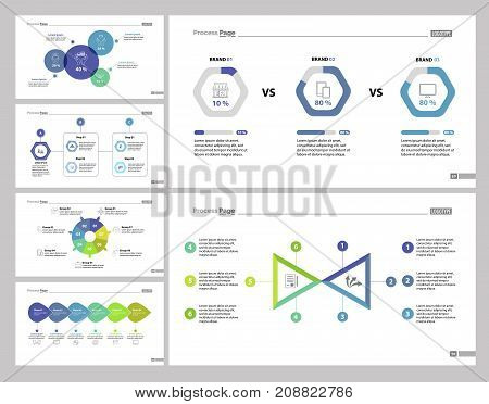 Development set can be used for economics, finances, progress. Business strategy or startup concept with comparison, process, percentage and doughnut charts, option diagram