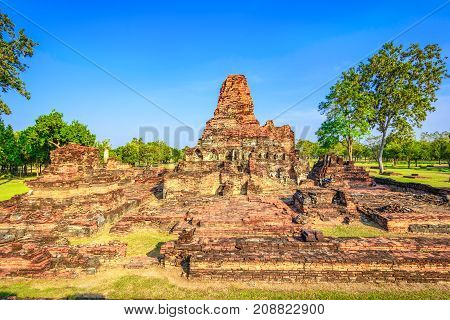Ruins In Wat Mahathat, Historical Park Which Covers The Ruins Of