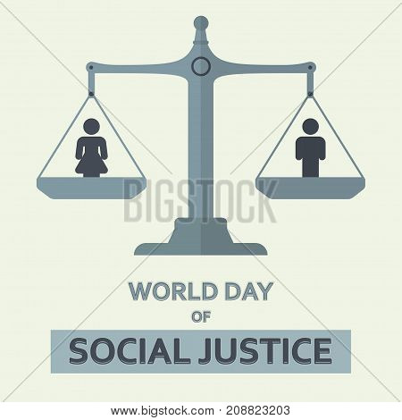 World Day of Social Justice, 20 February. Balance Scale conceptual illustration vector.