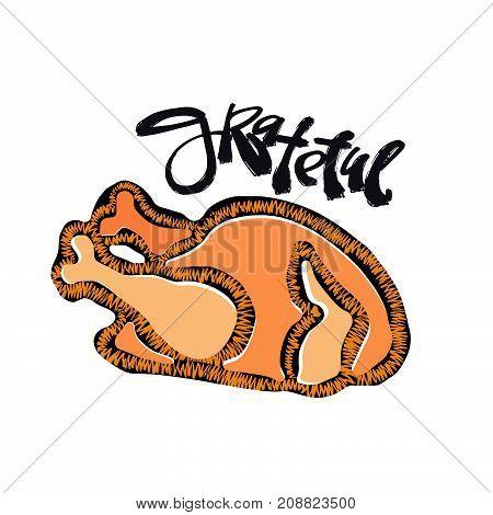 Grateful Hand Crafted Badge.bold Drawn Turkey
