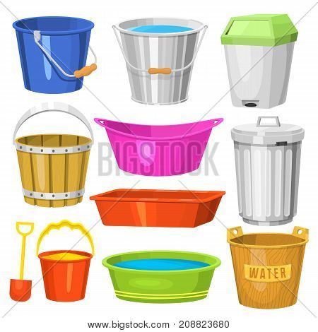 Water buckets handle container equipment household clean plastic empty domestic tool vector illustration. Gardening cartoon wash housework can.