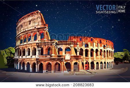 Roman Colosseum. Rome Italy Europe. Travel. Architecture and landmark Starry sky Night Vector Illustration