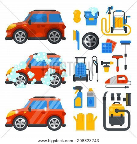 Car washing service clean tools transport automobile cleaner care auto design work wash station vector illustration. Garage machine dry washer concept.