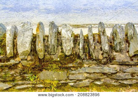 Abstract of rock wall and water at Loch Lomond in Scotland