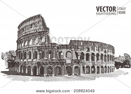 Roman Colosseum. Rome Italy Europe. Travel Architecture and landmark Vector illustration