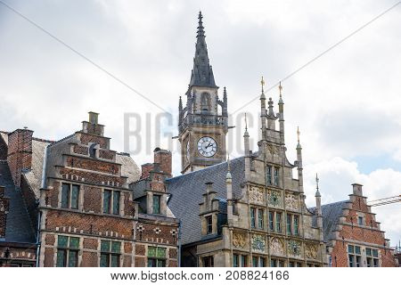 Picturesque Medieval Buildings Overlooking The Graslei Harbor In Ghent, Belgium