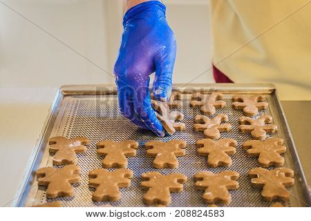 The dough in the shape of a bear on the hand and on the baking tray in the kitchen