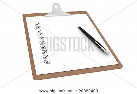 Clipboard With Checklist And Pen.