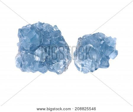 Blue celestite cluster isolated on white background