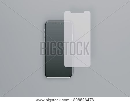 Protective film for smartphone isolated on gray background. 3d rendering