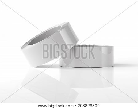 White adhesive tape isolated on bright background. 3d rendering