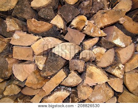Wood stack close up getting reading for winter