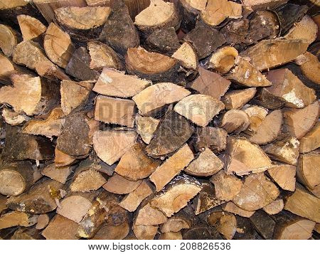 Close up of wood pile getting ready for winter